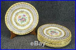 8 Vintage Coalport A. D. 1750 Dinner Plates Yellow Floral Gold Trim 10 1/2