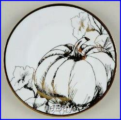 8pc CIROA Luxe Metallic Gold Pumpkin Vine Dinner Dessert Plate Set Thanksgiving