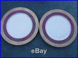 8pc Heinrich Bavaria Plum Gold Encrusted Dinner Plates 11