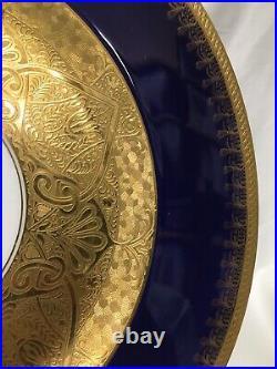 (9) Royal Bavarian Hutschenreuther Cobalt & Gold Encrusted 10.875 CABINET PLATE