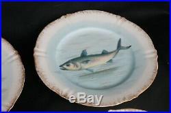 9pc Set Antique Theo Haviland Limoges Victorian 22K Gold Trim Fish Dinner Plates