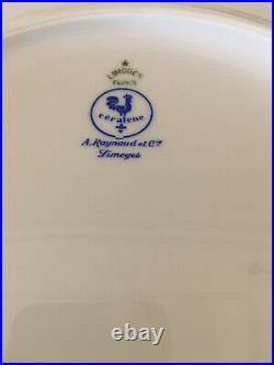 A. Raynaud Ceralene Limoges France MARIE ANTOINETTE GOLD Dinner Plates (2)