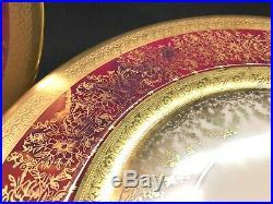 ANTIQUE GOLD-ENCRUSTED RED Dinner Plates HEINRICH SELB BAVARIA 6304 Set of 8