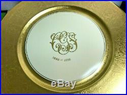 ANTIQUE PICKARD USA Gold Encrusted Dinner Plates 11 BOHEMIA PORCELAIN CZECH 12