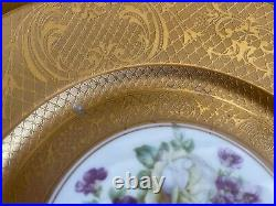 ANTIQUE SET 12 HEINRICH & CO gold encrusted DINNER PLATES flowers in the center