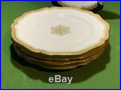 ANTIQUE WILLIAM GUERIN WG & Co LIMOGES 9.5 DINNER PLATES (5) GOLD SNOWFLAKE