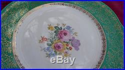 Antique Cabinet Plates Dinner Steubenville 2013 Green Gold Floral 9 Rare