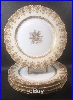 Antique Charles Ahrenfeldt Limoges France Porcelain Set of 5 Dinner Plates 10TA