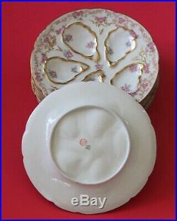 Antique GDA HAVILAND LIMOGES Oyster Plates Pink Roses Gold Rose BorderSet of 6