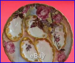 Antique HAVILAND LIMOGES Oyster Plate Pink Cabbage ROSES Gold, RARE! Circa 1889
