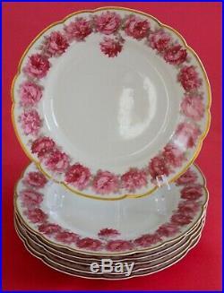 Antique Haviland Limoges 6 Dinner Plates Pink DROP ROSE Lavish GOLDExcellent