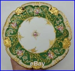 Antique Limoges Plate 9-1/4 H/P Pink Roses Green Rim Gold Encrusted Stunning
