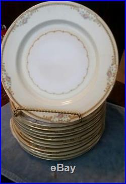 Antique Meito V2026 China Floral Cream Gold Trim Dinner Plates Set of 12
