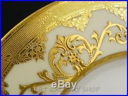 Antique Minton England H2895 GOLD ENCRUSTED 10-1/4 DINNER PLATES Set of 10