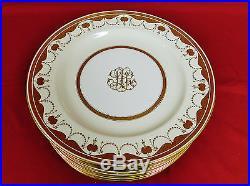 Antique Minton English Porcelain Raised Gold Dinner Plates Set MINT