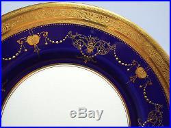 Antique Minton Tiffany Cobalt & Gold Encrusted Beaded Urn Swag 1 Dinner Plate