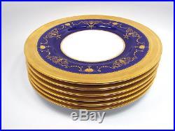 Antique Minton Tiffany Cobalt & Gold Encrusted Beaded Urn Swag 6 Dinner Plates