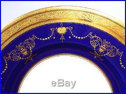 Antique Minton Tiffany Cobalt & Gold Encrusted Beaded Urn Swag 8 Dinner Plates
