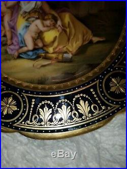 Antique Porcelain Royal Vienna Austria Plate beehive Gold cupids venus u amor