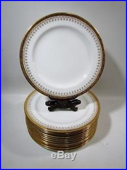 Antique Royal Cauldon England Gold Encrusted 12 Dinner Plates L6032