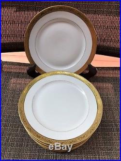 Antique Set of 11 T. V. Limoges France Gold Trim Dinner Salad Plates D 7 3/4