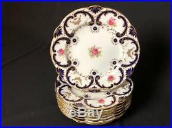 Antique Set of 8 Coalport 10&3/8 Scalloped Dinner Plates Cobalt Gold Pink Roses