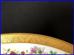 Antique Set of 9 Ahrenfeldt Limoges 10&1/2 Dinner Plates White Floral Rim Gold