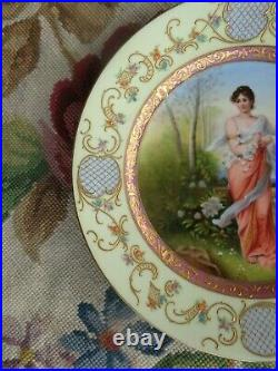 Antique Victorian Beehive Porcelain Lady Garden Gold Hand Painted Signed Plate