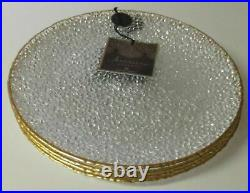 Artistic Accents Clear Knobby Glass Dinner Plates Gold Trim Set of 6 NEW