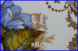 Aynsley English Signed JA Bailey Scrolls Flowers & Gold 10 1/4 Dinner Plate z