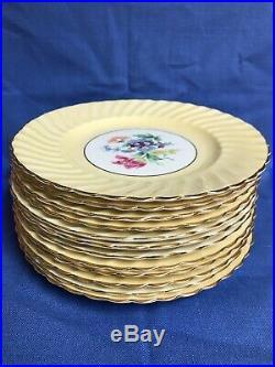 Aynsley Yellow Gold Floral Demitasse Plate Set Bone China England