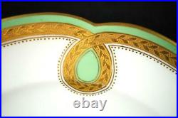Bd Pair Antique Minton Porcelain Plates Rural Scene Gold Frieze Green Border