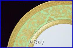 Beautiful Cauldon England Ovington Brothers Dinner Plate with Gold Rim & Green