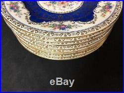 Beautiful Set Of 8 Schlaggenwald Czechoslovakia 10&3/4 Dinner Plates Blue Gold