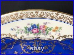 Beautiful Set Of 9 Schlaggenwald Czechoslovakia 10&3/4 Dinner Plates Blue Gold
