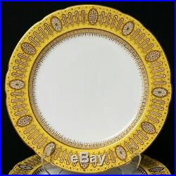 Beautiful Set of 10 Royal Worcester Porcelain Yellow Gold Dinner Cabinet Plates