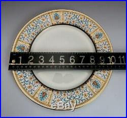 Beautiful set 7 Antique Mintons White Turquoise & Gold Porcelain Dinner Plates