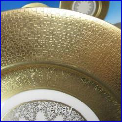 Bern Lan China Wide Gold Encrusted Band 12 Dinner Plates 10½ inches
