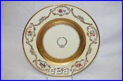 Circa 1940 9 Vintage Bohemia Ceramic Works Gold Encrusted Dinner Plates