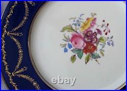 Coalport Antique 8 Dinner Plates Cobalt Gold & Roses 1900's perfect 10.5
