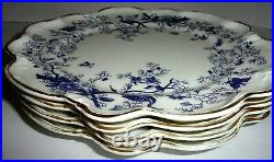 Coalport Cairo Blue Peacocks Gold Trim On White Raised Dinner Plates Set Of Four