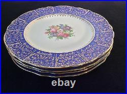 Cobalt Royal Blue Set 4 Dinner Plates Chargers 11 Floral 22k Gold Filigree Vtg