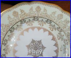 Czech porcelain elegant dinner plates gold on ivory set 11 1930s Haas-Czjzek
