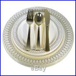 Dinner Wedding Disposable Plastic Plates & silverware Set, silver/ gold Oval