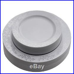 Dinner/ Wedding Disposable Plastic Plates & silverware Set silver/gold/rose gold