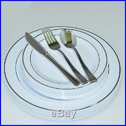 Dinner/ Wedding Disposable Plastic Plates & silverware silver/gold/rose gold rim
