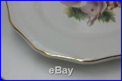 Disney China Dinnerware Christmas Wreath Gold Rim Dinner Plates Set of 4 Holiday