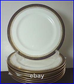 EIGHT 101/2 Royal Doulton Gold Cobalt Blue Encrusted Rim Dinner Belmont Plates
