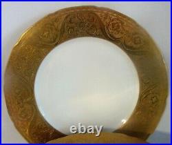 ELEGANT Set of 6 LIMOGES Gold Encrusted 11 Dinner Plates for B Altman & Co