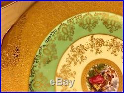 Exquisite 11Pc. Czech Victoria 24KT Gold Encrusted Porcelain Dinner Plates